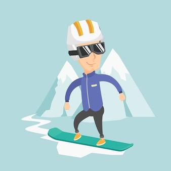 Ilustracja wektorowa dorosły mężczyzna na snowboardzie.