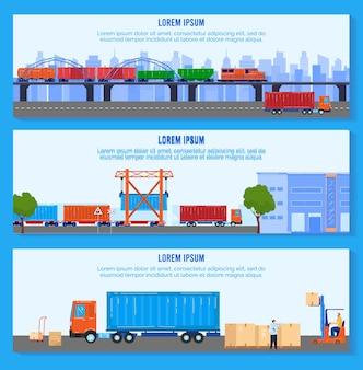 Ilustracja wektorowa dostawy logistyczne transportu. kreskówka płaska kolekcja banerów firmowych z ładowaniem opakowań do furgonetki kurierskiej lub wagonu kolejowego, zestaw do transportu towarów