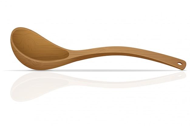 Ilustracja wektorowa drewnianą łyżką