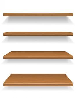 Ilustracja wektorowa drewniane półki