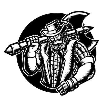 Ilustracja wektorowa drwal kowboja z siekierą, kapelusz, kurtka, flanela.