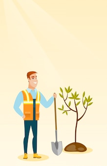 Ilustracja wektorowa drzewo roślin mężczyzna.