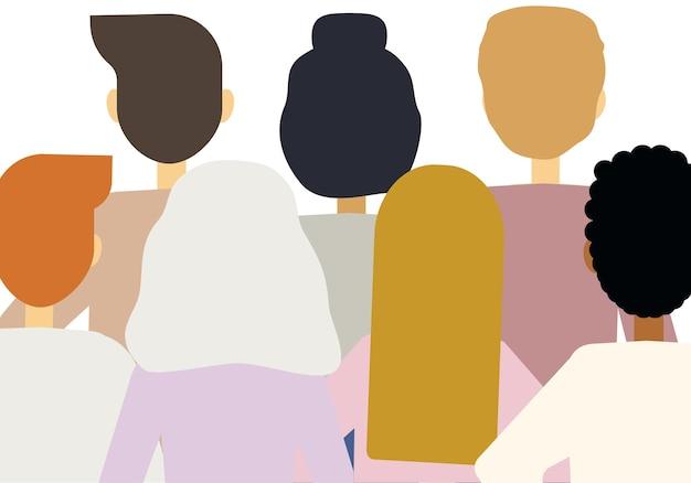 Ilustracja wektorowa dużej liczby ludzi różnych narodowości stojących plecami