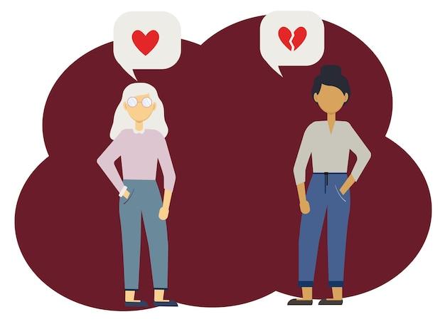 Ilustracja wektorowa dwóch kobiet z bąbelkami serca, jedna całość, druga złamana