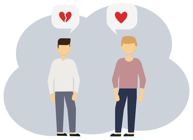 Ilustracja wektorowa dwóch mężczyzn z bąbelkami serca, jedna całość, druga złamana