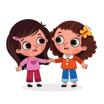 Ilustracja wektorowa dwóch uroczych dziewczynek trzymających się za ręce obraz kreskówki z motywem przyjaźni