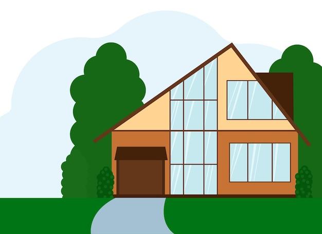 Ilustracja wektorowa dwupiętrowego budynku mieszkalnego z dużymi oknami. odosobniony
