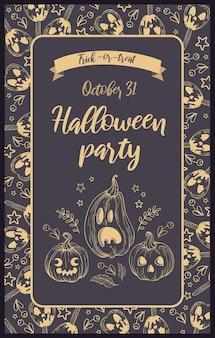 Ilustracja wektorowa. dynie, karmelowe jabłka jack-o-lantern, jagody i napis w stylu vintage. złote litery, ciemne tło. zaproszenia na halloween, plakaty, pocztówki, banery i ulotki