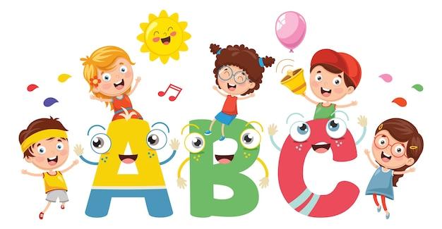 Ilustracja wektorowa dzieci i znaków alfabetu