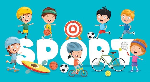 Ilustracja wektorowa dzieci sportu