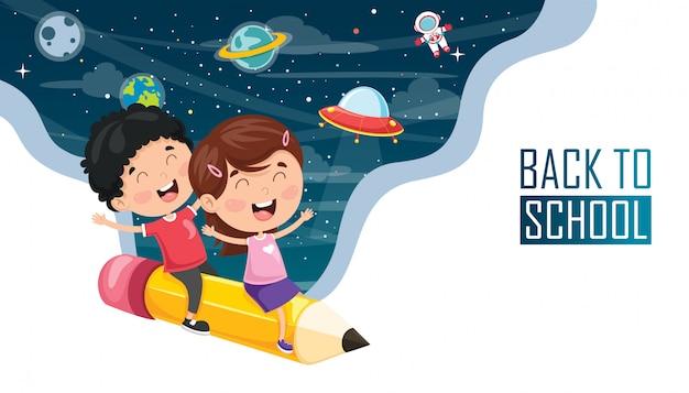 Ilustracja wektorowa dzieci z powrotem do szkoły