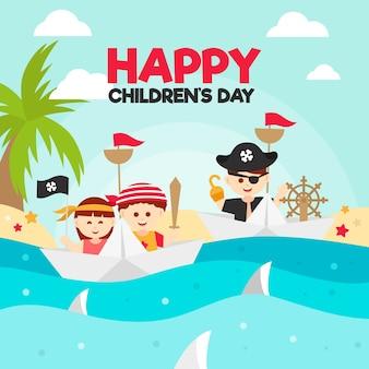 Ilustracja wektorowa dzień imprezy dla dzieci płaska konstrukcja