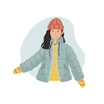 Ilustracja wektorowa dziewczyny w zimowej kurtce sintepon i czapce z dzianiny. odzież zimowa