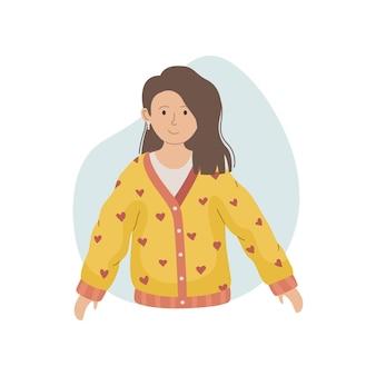 Ilustracja wektorowa dziewczyny w zimowy sweter z dzianiny. zimowe ubranie.