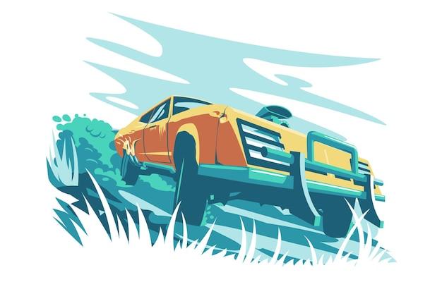Ilustracja wektorowa dziki pomarańczowy szybki samochód fajny nowy samochód utknął w błocie płaski styl szybki luksusowy samochód w krajobrazie przyrody koncepcja transportu i komfortu na białym tle