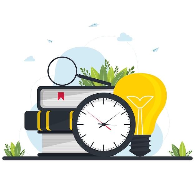 Ilustracja wektorowa, edukacja na odległość, kursy online i biznes, edukacja, książki online i przewodniki do nauki, przygotowanie do egzaminów, nauczanie domowe, zegar z lupą i stos książek