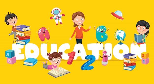 Ilustracja wektorowa edukacji dzieci