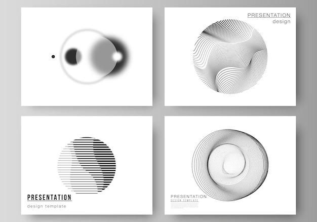 Ilustracja wektorowa edytowalnego układu slajdów prezentacji projektowania szablonów biznesowych. geometryczne abstrakcyjne tło, futurystyczna koncepcja nauki i technologii dla minimalistycznego designu.