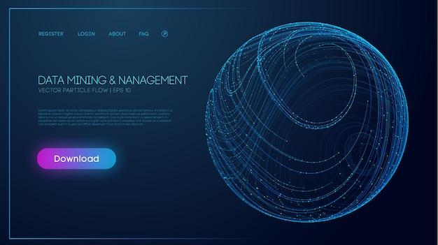 Ilustracja wektorowa eksploracji danych i zarządzania dużymi danymi technologia internetowa przetwarzania danych