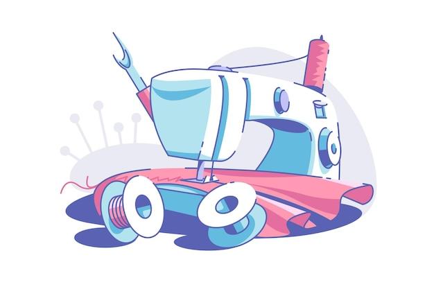 Ilustracja wektorowa elektryczna maszyna do szycia. narzędzie do szycia ubrań w stylu płaski. czerwona tkanina i nić. koncepcja atelier mody lub warsztatu. odosobniony