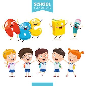 Ilustracja wektorowa elementów edukacji