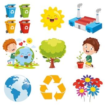 Ilustracja wektorowa elementów środowiska