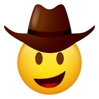 Ilustracja wektorowa emotikonów w kowbojskim kapeluszu