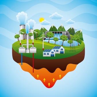 Ilustracja wektorowa energii odnawialnej