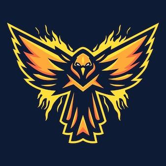 Ilustracja wektorowa esport logo maskotki feniksa