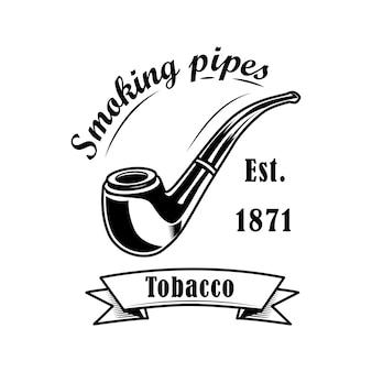Ilustracja wektorowa etykiety sklepu tytoniowego. klasyczna fajka i tekst. logo koncepcja sklepu tytoniowego