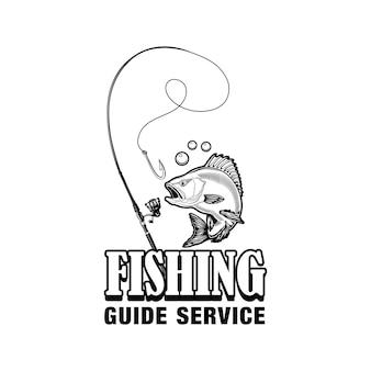 Ilustracja wektorowa etykiety usług przewodnika wędkarskiego. ryba, sprzęt, haczyk i tekst. koncepcja wędkarstwa lub sportu dla szablonów emblematów i odznak klubu lub społeczności