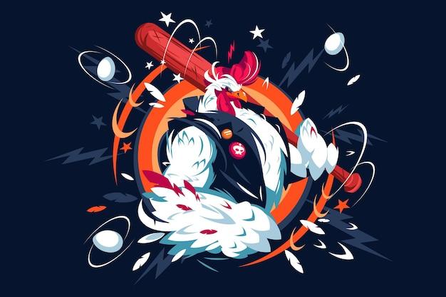 Ilustracja wektorowa fajne kogut kreskówka. kogut z czerwonym grzebieniem w casualowej kamizelce trzymającej koncepcję płaskiego stylu nietoperza