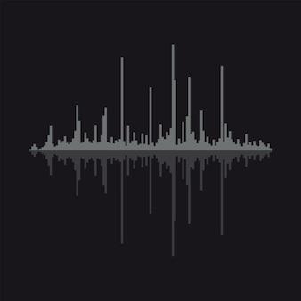 Ilustracja wektorowa fali dźwiękowej na białym tle.