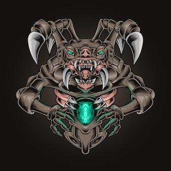 Ilustracja wektorowa fang potwora