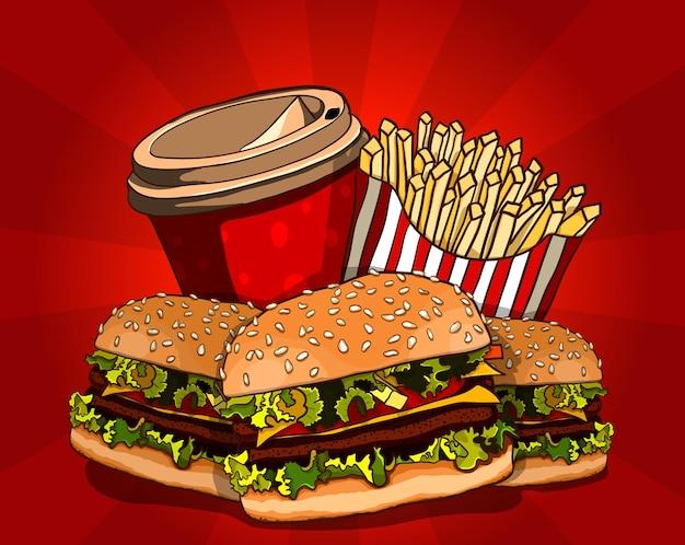 Ilustracja wektorowa fast food. burger, smażony ziemniak i cola. zbiórka żywności.