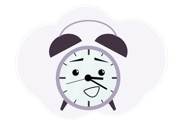 Ilustracja wektorowa fioletowy budzik z emocjami zaskoczony i wesoły.