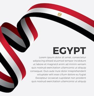 Ilustracja wektorowa flaga egiptu wstążka na białym tle premium wektor
