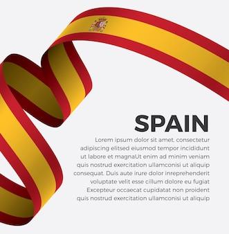 Ilustracja wektorowa flaga hiszpanii wstążka na białym tle premium wektorów