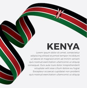 Ilustracja wektorowa flaga kenii wstążka na białym tle premium wektorów