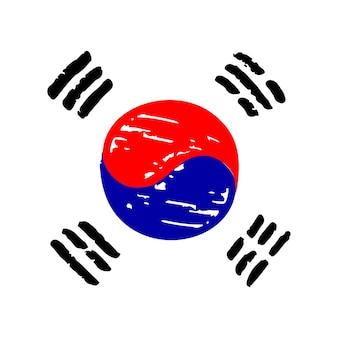 Ilustracja wektorowa flaga korei południowej wykonana z oficjalnymi koreańskimi kolorami narodowymi