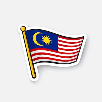 Ilustracja wektorowa flaga malezji symbol lokalizacji dla podróżnych naklejka kreskówka z konturem