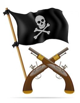 Ilustracja wektorowa flaga piratów i pistoletów