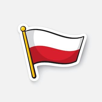 Ilustracja wektorowa flaga polski na maszcie symbol lokalizacji dla podróżnych naklejka z kreskówek