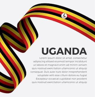 Ilustracja wektorowa flaga ugandyjska wstążka na białym tle premium wektorów
