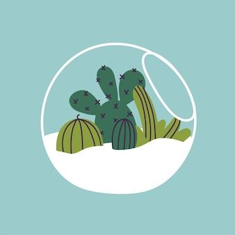 Ilustracja wektorowa florarium. różne sukulenty, kaktusy i tropikalne liście. stylowy wystrój domu w modnym skandynawskim stylu.