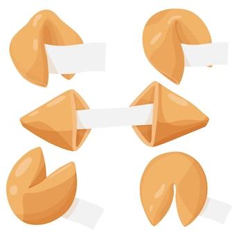 Ilustracja wektorowa fortuny ciastko jedzenie deser szczęście fortuny