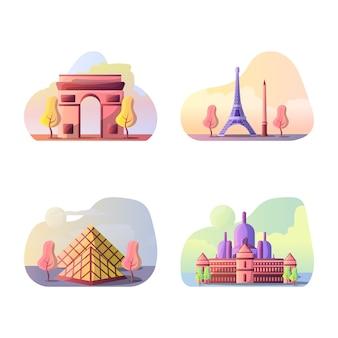Ilustracja wektorowa francuskich miejsc turystycznych