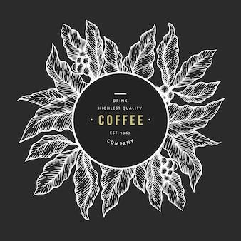 Ilustracja wektorowa gałąź drzewa kawy. kawa w stylu vintage ręcznie rysowane grawerowane styl ilustracji na tablicy kredą.
