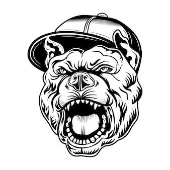 Ilustracja wektorowa gangsta bulldog. głowa agresywnego psa w czapce gangsterów