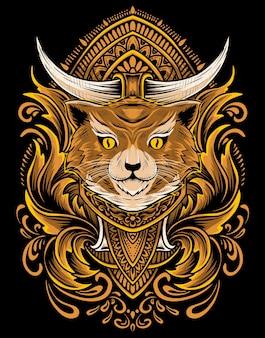 Ilustracja wektorowa głowa kota z rocznika grawerowania ornamentem.